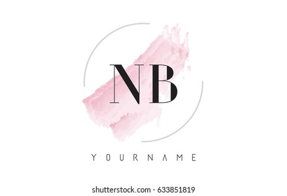 NB N B Watercolor Letter Logo Design with Circular Shape and Pastel Pink Brush.