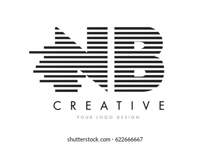 NB N B Zebra Letter Logo Design with Black and White Stripes Vector