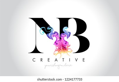 NB Vibrant Creative Leter Logo Design with Colorful Smoke Ink Flowing Vector Illustration.