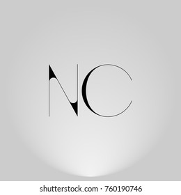 NC Black thin minimalist LOGO Design with Highlight on Gray background.
