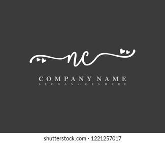 NC Initial handwriting logo vector
