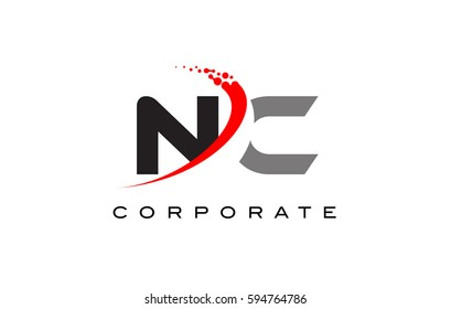 NC Modern Letter Logo Design with Red Swoosh and Dots
