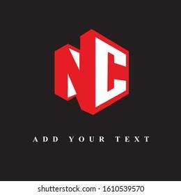 NC text logo design & illustration vector art