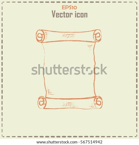 Ncient Parchment Sheet Paper Line Icon Stock Vector (Royalty