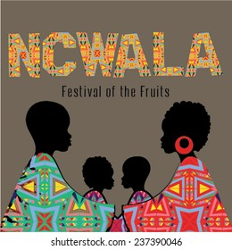 Ncwala. Fruits Festival. Happy Ncwala decorative greeting card.