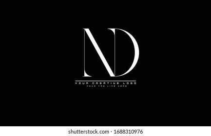 ND DN abstract vector logo monogram template