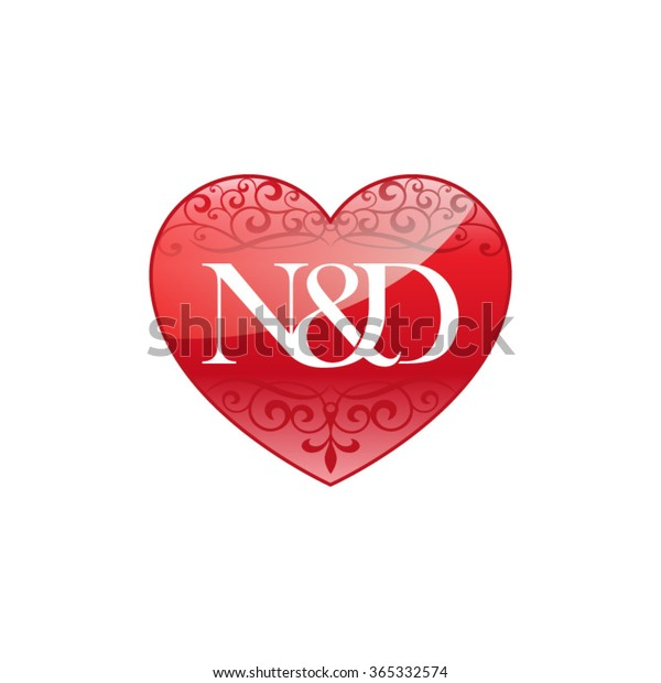 Nd Initial Letter Logo Ornament Heart Stock Vector Royalty Free