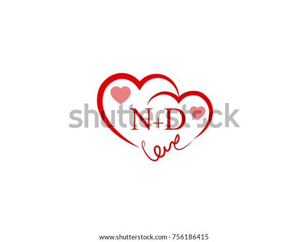 Nd Initial Wedding Invitation Love Logo Stock Vector Royalty Free