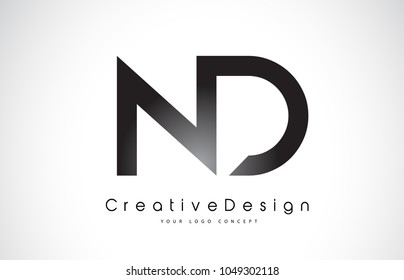 ND N D Letter Logo Design in Black Colors. Creative Modern Letters Vector Icon Logo Illustration.