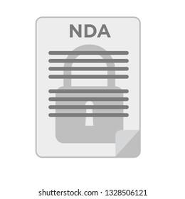NDA. Lock on document. Non Disclosure Document. Stock vector illustration.