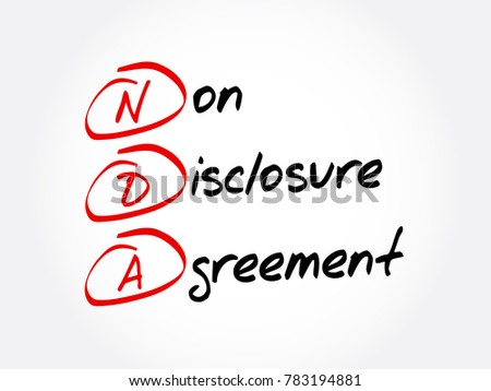 NDA - Non-Disclosure Agreement acronym, business concept background