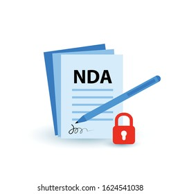 NDA or non-disclosure agreement contract icon isolated, legal restrictions concept. Nondisclosure or know-how protection cartoon flat vector illustration with tiny people