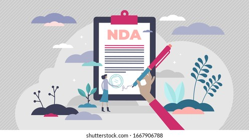 NDA non-disclosure document concept, flat tiny person vector illustration. Signing business confidentiality paper with agreement to the contract. Legal paperwork for corporate secret protection system