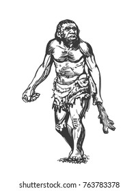 Neanderthal with a club. Graphic sketch