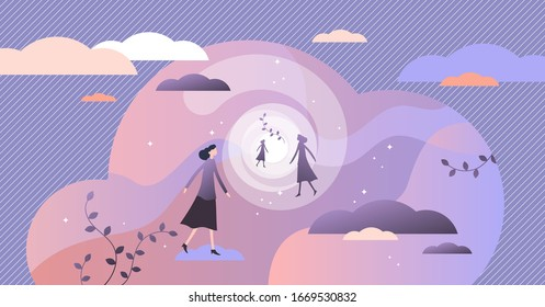 Near death experience concept, flat tiny person vector illustration.Afterlife bright light tunnel vision and spirit leaving body.Mystical spiritual process.Abstract divine soul traveling into heaven.