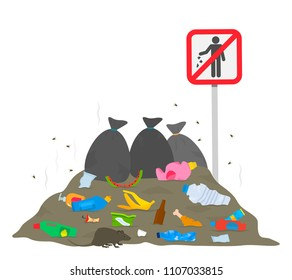 "Near the sign ""stop garbage"" is a large pile of garbage and the rat is running. The concept of ecology and cleanliness of the city. flat vector illustration isolated on white background"