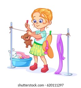 A neat girl does housework, washing, drying toys on a clothesline with clothespins. Vector cute baby illustration on a white background.