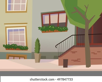 Neat old town street vector. City street background.