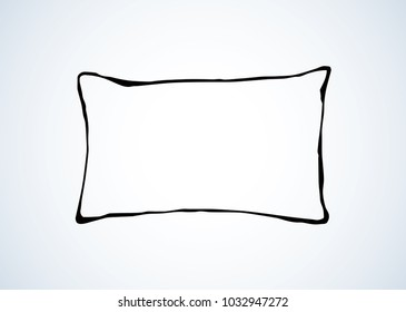 Neat snug thick clean divan chock on light bedroom backdrop. Freehand linear black ink hand drawn logotype sketchy in art retro scribble graphic style pen on paper. Closeup view with space for text