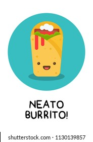 Neato Burrito Pun Poster Vector Illustration in Flat Style Line Art