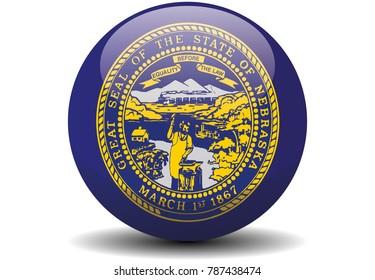 Nebraska circle button flag background texture. Vector illustration.