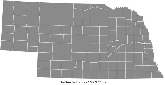 Nebraska county map vector outline gray background. Map of Nebraska state of United States of America with counties borders
