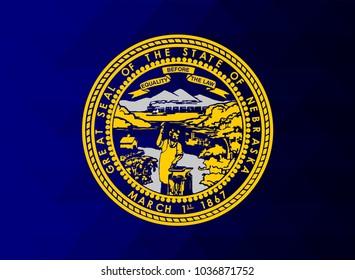 Nebraska Flag vector illustration.Nebraska Flag. National Flag of Nebraska. Mosaic flag. Vector