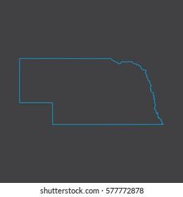 Nebraska map blue outline stroke line style