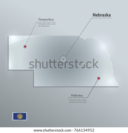 Free Nebraska Map.Nebraska Map Flag Glass Card Paper Stock Vector Royalty Free