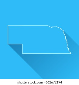 Nebraska map with long shadow and white outline on blue background. Blue map in a flat design style. Vector illustration, easy to edit.