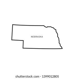Nebraska Map Outline Vector Design Template. Editable Stroke