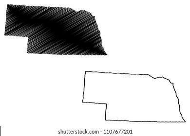Nebraska map vector illustration, scribble sketch  Nebraska map