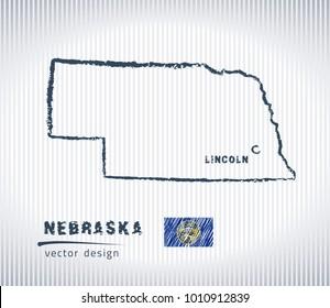 Nebraska national vector drawing map on white background