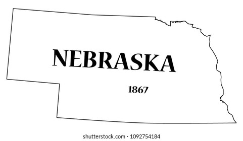 A Nebraska state outline with the date of statehood isolated on a white background