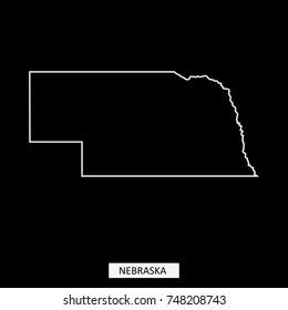 Nebraska state of USA map vector outline illustration in black background