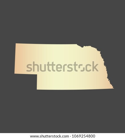 Nebraska State Usa Map Vector Outline Stock Vector Royalty Free - Us-map-nebraska-state