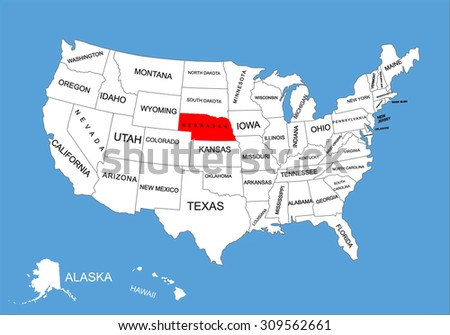 Nebraska State Usa Vector Map Isolated Stock Vector Royalty Free