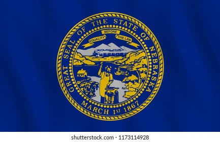 Nebraska US state flag with waving effect, official proportion.