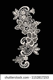 Neck embroidery, lace print in vector.