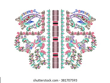 Neck embroidery in vector.