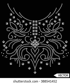 neck line embellishments stud hot fix graphic designs