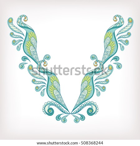 Neck Line Embroidery Designs Ornamented Turkish Stock Vector