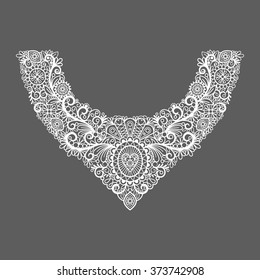 Neck print vector floral design. Fashion white lace collar. Vector illustration
