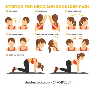 Neck and shoulder exercise. Stretch to relieve neck pain. Idea healthy and active lifestyle. Shoulder shrug and head tilt. Easy office workout. Isolated vector illustration in cartoon style