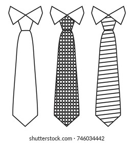 Neck ties set with trendy line style. Vector illustration