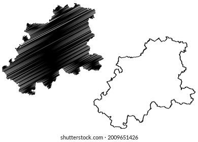 Neckar-Odenwald-Kreis district (Federal Republic of Germany, rural district, Baden-Wurttemberg State) map vector illustration, scribble sketch Neckar Odenwald Kreis map