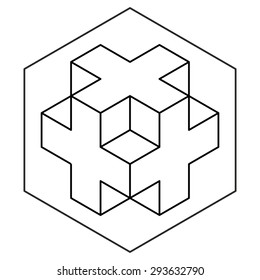 Necker cube icon vector, line drawing, 3d cross logo design, crop circles, sacred geometry