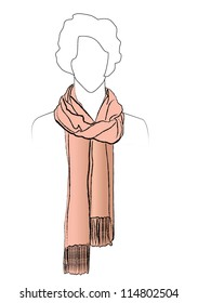 Neckerchiefs tied. Illustration of woman wearing scarf.