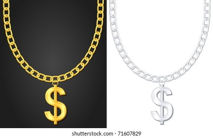Necklace with dolar sign set. Vector illustration.