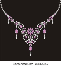 Necklace female embroidery with silver and pink precious stones, fashion print t-shirt shine from brilliant stones, gift for wedding, birthday. Glamor rich banner for jewelry store - stock vector